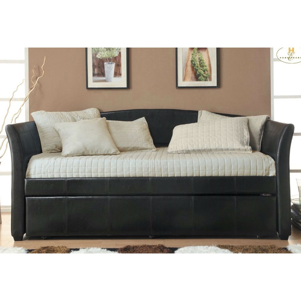 "Twin size Dark Brown Faux Leather Daybed with Trundle Bed: Product Code: MFLD469 :  This Twin size Dark Brown Faux Leather Daybed with Trundle Bed is not only a stylish relaxation platform it also a functions as a comfortable bed. The twin size daybed features additional sleeping space in the form of a pull-out trundle. Padded for comfort and covered in dark brown bi-cast vinyl with stitching, it is a perfect addition to your contemporary or transitional space. Pull-out twin-size under trundle fits mattress up to 8"" thick Optional use as storage space; A perfect addition to your reading room for relaxation or game room for fun or guest room for resting; Moderate assembly required; 90-days hassle-free replacement warranty. Modern curve-arm design daybed upholstered in Dark Brown /espresso Bi-Cast Vinyl (faux leatherette or PU)"