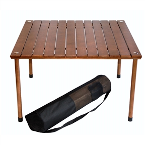 "Portable Patio Table with Brown Solid Wood Top and Carry Bag, POT4581813 :  Our classic table-on-the-go unrolls to a low profile for beach blanket bingo or casual dining at outdoor concerts or picnics. This Portable Patio Table with Brown Solid Wood Top and Carry Bag features a roll-top design that stows with all pieces in a single bag. This lightweight but sturdy portable table is perfect for any indoor or outdoor activity, from picnics, trips to the beach, lawn concerts, the park, vacations, and camping. This unique compact and portable design offers the most convenient way to have a full-size table anywhere you want. The short table height doesn't require chairs and its small size won't add bulk to your picnic site. Great to take to any indoor/outdoor adventures or to keep around the house as a game table. Comes with water resistant wood top, 2 cross bars, 4 legs, and a black carrying bag with pocket. Set up size is 27"" wide by 27"" long by 16"" high. Brown. Please note that table top will stretch to 27-Inches once assembled to fit the cross bars; Perfect for picnics, the beach, outdoor concerts, camping, backyard parties and more; Easy instructions for set up included; Water-resistant quality construction with solid hardwood top."