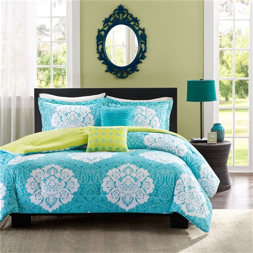 Update your space with style and comfort. This Full size 5-Piece Comforter Set in Teal Blue White Damask with Green Reverse combines a modern grey with a soft yellow reverse to highlight this beautiful white damask print.