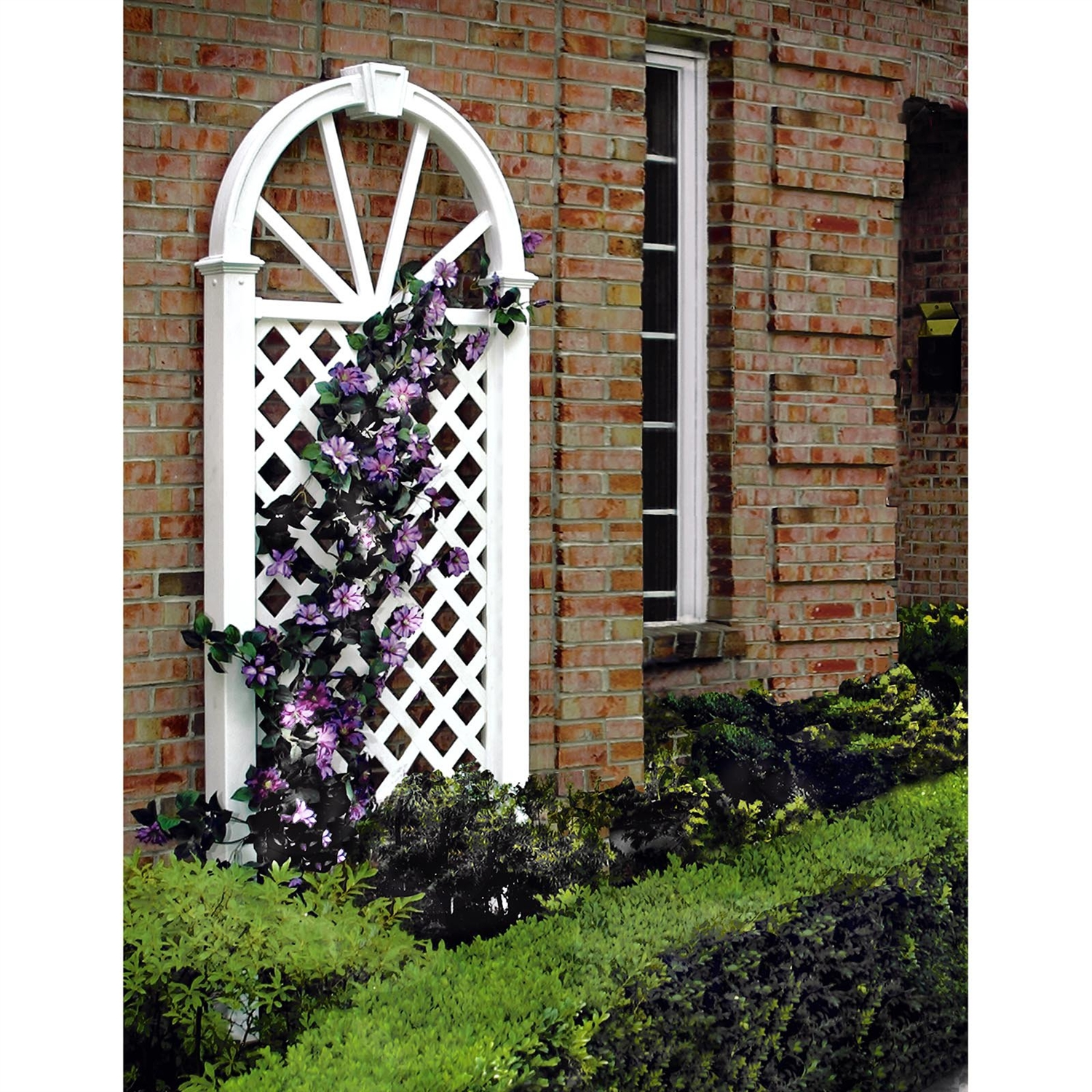 7-Ft Garden Trellis in White Vinyl with Arch Top, NVAT1995148 :  This 7-Ft Garden Trellis in White Vinyl with Arch Top exudes beauty through its eye-pleasing design. This classic garden trellis can be placed against an outside wall or used anywhere in your yard or garden. Provides visual appeal and privacy near pools or hot tubs. The traditional lattice panel is the perfect foundation for flowers, plants, and climbing vines.