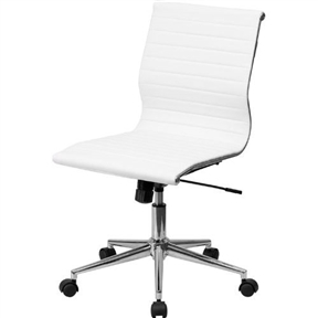 This White Faux Leather Ribbed Armless Mid-Back Conference Office Chair will add an upscale appearance to your office. The comfort molded seat has built-in lumbar support and features a locking tilt mechanism for a mid-pivot knee tilt. This chair features dual paddle controls to easily adjust your chair and an integrated bar in the back to keep your jacket within reach. If you're looking for a modern office chair that provides a sleek look, then the White Faux Leather Ribbed Armless Mid-Back Conference Office Chair delivers.