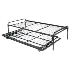 "Twin Size Hi Rise Bed/Daybed Frame: Product Code: B808 BED FRAME : Our Duo Riser Hi Rise metal bed frame is a functional and versatile piece of furniture for your home. The optional pull out pop up trundle is bed is a great sleep space for guest. The Duo Riser bed/daybed frame and optional trundle bed are available in size twin, 39"" x 75"", and are constructed out of steel. No boxspring or foundation required. Works well with any standard twin size mattresses 8"" thick or less. Affordable alternative to more expensive daybed frames. The Dur Riser frame provides firm and even mattress support; Available in twin size only; Study construction designed for long life and safety; Optional pull out pop up trundle bed stores easily under the bed frame and pulls out and lifts up to the same height as the Duo Riser bed frame; When you elevate the trundle bed and push it up next to the Duo Riser bed frame then you are creating a King size bed, which is perfect for couples; Or, you can leave the trundle bed in the down position, which is great for friends sleeping over."