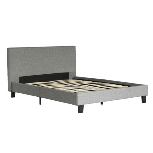 This Queen size Grey Upholstered Platform Bed Frame with Headboard will transform your bedroom. It includes the headboard, frame, legs and wooden slats. This contemporary upholstered full or queen size platform bed features a flat headboard and low profile footboard style frame with wood slats and exposed feet for support. The simple design of this bed will give your bedroom a soothing look that makes it easier to relax and fall asleep. Frame Material: Wood; Headboard Included: Yes; Box Spring Required: No