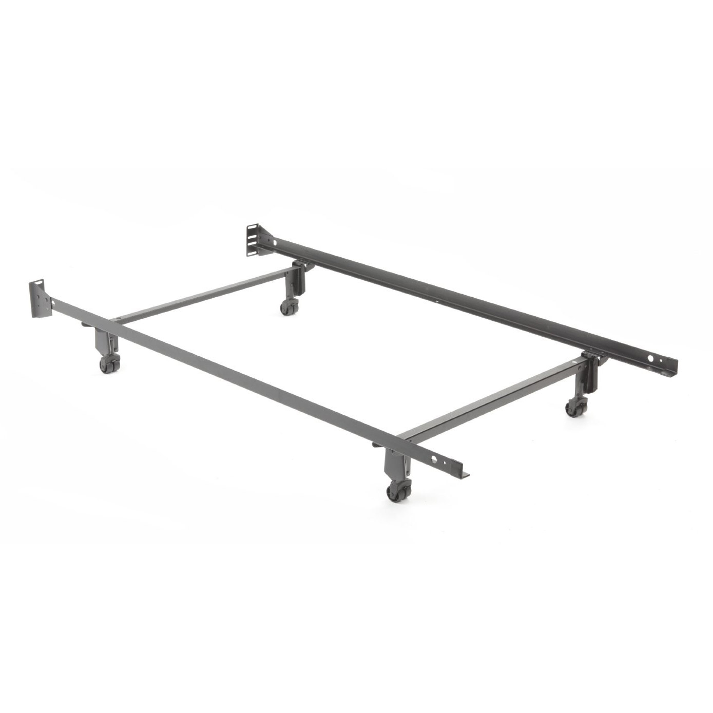 Twin size Metal Bed Frame with Casters and Headboard Brackets, LAPIBF5790 :  Our Heavy duty twin size metal bed frames are the some of the strongest bed frames made today. Original Wedge-Lock leg construction provides the ultimate in strength and durability. Side rails simply wedge onto cross rails. Steel sockets are pre-built into legs. The last bed frame you'll ever need to buy.