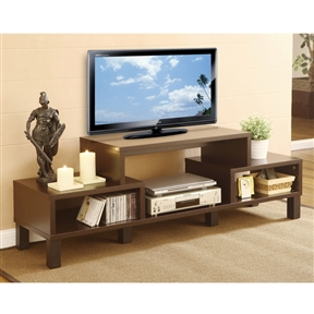 Simplify your home entertainment area with this Modern 60-inch TV Stand with Audio Video Media Storage Shelves. This TV console accentuates your furnishings with ample space for all your media components in style. Clean and care suggestions: Dust with dry, soft cloth or untreated dusting cloth. Avoid alcohol or petroleum-based products on lacquer finishes. Avoid placing your furniture in direct sunlight and maintain at least two feet between furniture and heat sources. Open cabinet with clean, contemporary lines and a red cocoa matte finish body; Four solidly built wooden legs in black finish; TV unit can hold up to three standard size players; Holds up to a 58-inch TV; Assembly required.