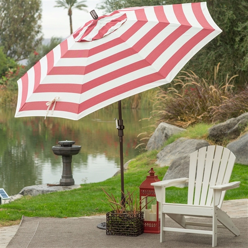7.5-Ft Patio Umbrella in Red and White Stripe Outdoor Fabric and Metal Pole, RWSPUMS598716 :  Stay cool and comfortable this summer with this 7.5-Ft Patio Umbrella in Red and White Stripe Outdoor Fabric and Metal Pole. Beautifully crafted, this umbrella is made with a durable aluminum pole and eight fiberglass ribs with reinforced ribs and joints which provides added flexibility and longevity in windy conditions. It also features a durable resin housing and hub. Olefin fabric, in your choice of colors, is tough, hardwearing, and made to last. You'll love the advanced collar tilt system with infinity tilt which separates the tilt from the crank system. You'll also have a complete range of tilt positions at your fingertips so you can easily stay in the shade no matter the time of day. Commercial Grade No; Pole Finish Bronze; Pole Material Aluminum; Umbrella Shape Round; Warranty 1 Year Limited.