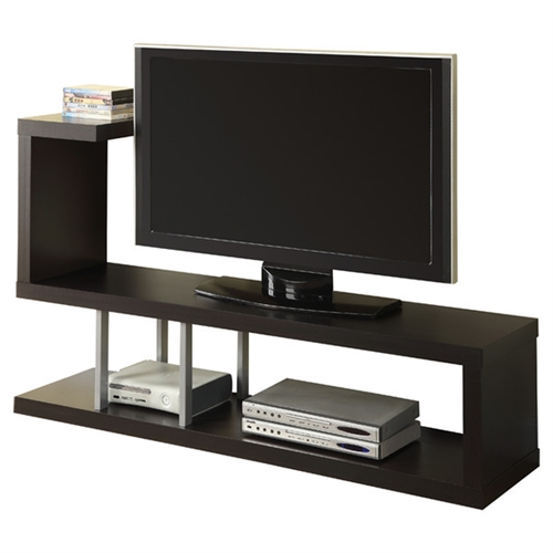 "This Modern Entertainment Center TV Stand in Cappuccino Finish is an open shelf with an unusual and innovative design that immediately catches the eye. Its shape can best be described as an incomplete 'S' and can hold a 47"" TV. The base can accommodate DVD players and other media components. The uppermost shelf can also hold your CD/DVDs or books. Made of thick hollow-core manufactured wood, it is sturdy while being relatively lightweight and easy to move. Give a unique and unconventional look to your home decor with this TV stand!"