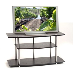 This Black 42-Inch Flat Screen TV Stand by Convenience Concepts is constructed of sturdy laminated particle board with stainless-steel clad poles. Also, has Easy-to-follow assembly instructions; no tools necessary.
