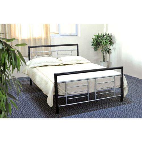This Twin size Metal Platform Bed Frame in Black and Silver with Headboard and Footboard makes a brilliant addition to any bedroom. With its unique two-toned black and silver chic design, it mixes easily with a wide range of furnishings and bedroom decor. This bed makes furniture set up fast and easy. This contemporary bed features metal slats and supporting legs which create a sturdy and durable place to hold a mattress. The quality construction of this product helps to protect your mattress from warping, keeping it comfortable longer. Black/Silver metal frame; 7 Legs support; Headboard, footboard, rails included; Headboard Included: Yes; Box Spring Required: No; Number of Center Support Legs: 4.  Country of Manufacture: China; Assembly Required: Yes.