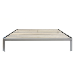 Take a trip to the moon and back every time you rest in this Queen size Luna Metal Platform Bed Frame with Wood Slats. Its ultra-sleek profile and rounded corner edges provide a contemporary yet simple appearance that will seamlessly blend with your bedroom decor. The bed features a cool powder-coated silver finish and supports your mattress using a durable wooden-slat system. Mattress Included: No; Recommended Mattress Height: 8 Inches; Country of Manufacture: China.