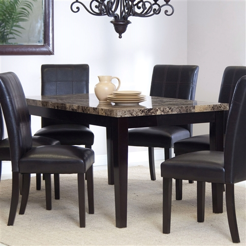 Impress your dinner guests with this 3Ft x 5Ft Contemporary Dining Table with Faux Marble Tabletop. This table looks like it cost you a mint, with a marble-veneer tabletop over an espresso-colored solid wood frame. The piece's dark elegance adds a note of sophistication to any modern dining room. Choose any four chairs with faux leather upholstery to complete the look. Your friends will think you splurged on an interior designer with this attractive addition to your home furniture collection.