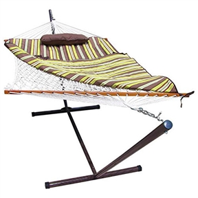 Rope Hammock Set with Stand Pad and Pillow 55 x 144-inch - Desert Stripe, DS12951518 :  Enjoy those lazy days outdoors with this Rope Hammock Set with Stand Pad and Pillow 55 x 144-inch - Desert Stripe. At the lake, on the patio or under your favorite tree, this perfect hammock and stand combo that comes with everything you need, you won't even need tools to set it up! Combo includes 12 Ft hammock stand; Weight capacity is 275lbs. Combo includes cotton rope hammock, outdoor plated hardware, pad, pillow and stand so you have everything you need to set up your hammock and relax. The pad is made of weather resistant solution dyed acrylic fabric with inner poly quilting so it will withstand the conditions; Sunnydaze Décor backs its products with a 1-year manufacturer's warranty.