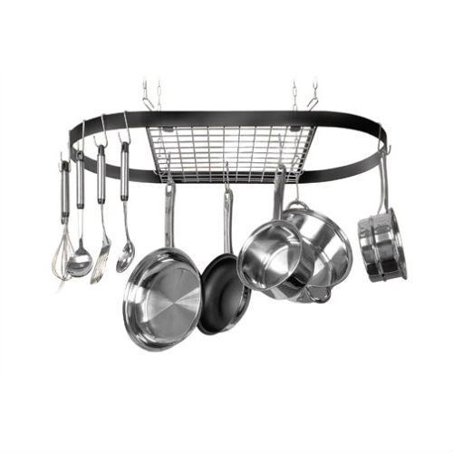 This Ceiling Mount Wrought Iron Hanging Oval Pot Rack with 12 Hooks holds 40 lbs. of cookware. Wrought-iron construction is attractive and durable. Heavy-gauge chrome center grid holds additional hooks. Includes 12 hooks and hanging hardware. Protected by 5-year limited warranty.