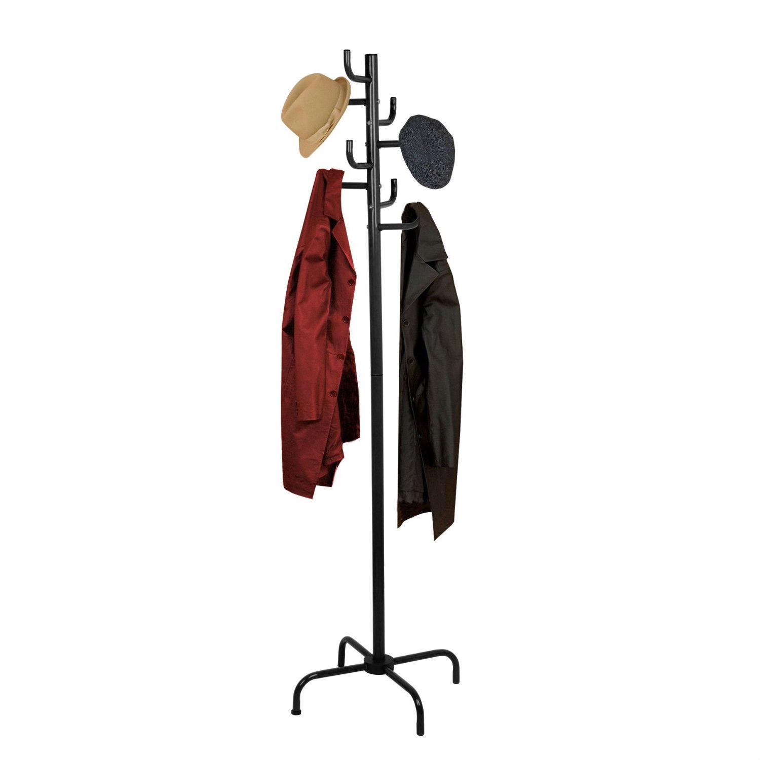 Black Metal Coat Rack Entry Hall Tree Hat Rack, HBCR35 :  This Black Metal Coat Rack Entry Hall Tree Hat Rack provides efficient storage and displays garments in an elegant manner. Features a sturdy base support, and 8 hooks. Constructed of chrome, marble, and black power coated finish.