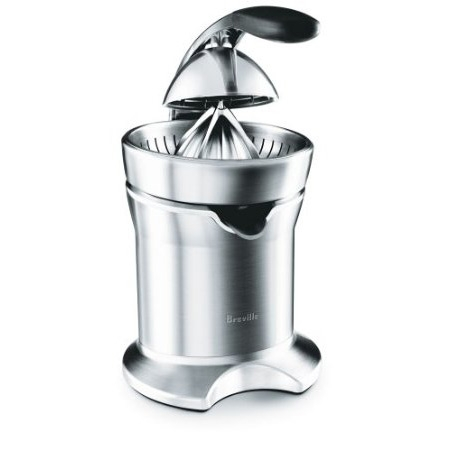 This Breville Die-Cast Stainless Steel Motorized Citrus Press Juicer is a wonderfully functional and excellently designed. It has a die-cast stainless steel juicing cone that will fit all size citrus fruit. It boasts innovative juicing action for maximum juice extraction. It also has two stainless steel filters for variable pulp control. It gleams with brushed stainless die-cast steel housing and motor body. It will be an item that will enhance any kitchen countertop. 1-size-fits-all juicing cone provides maximum juice extraction; Drip-stop juice spout; 2 filters for variable pulp; Dust cover; Cord storage; Dishwasher-safe parts; 1-year warranty.