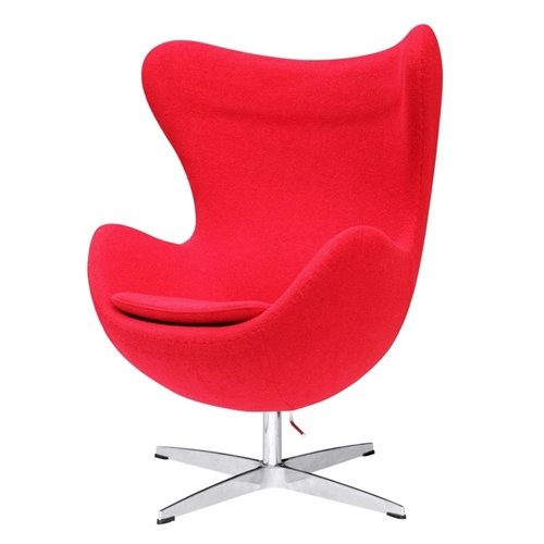 This Modern Egg Shaped Red Wood Fabric Upholstered Arm Chair features a molded fiber glass frame, fire retardant polyurethane foam padding, and covered with 100% wool fabric. Color may differ slightly from image shown. Chair Design: Arm chair; Seating Firmness: Soft; Upholstered: Yes; Upholstery Material: Wool; Pattern: Solid; Frame Material: Other; Tufted Cushions: Yes; Arms Included: Yes; Arm Material: Fabric; Arm Type: Round arms; Legs Included: Yes; Country of Manufacture: China.