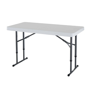 This Adjustable Height 4-Foot Commercial Folding Table with White HDPE Top is constructed of high-density polyethylene and have three adjustable height settings; 22-inch, 29-inch and 36-inch. They will not crack, chip or peel, and are built for indoor and outdoor use. The patented steel frame design provides a sturdy foundation and is protected with a powder-coated, weather-resistant finish. Backed by a ten-year warranty, lifetime adjustable height tables are perfect for your home, office outdoor activities and more.