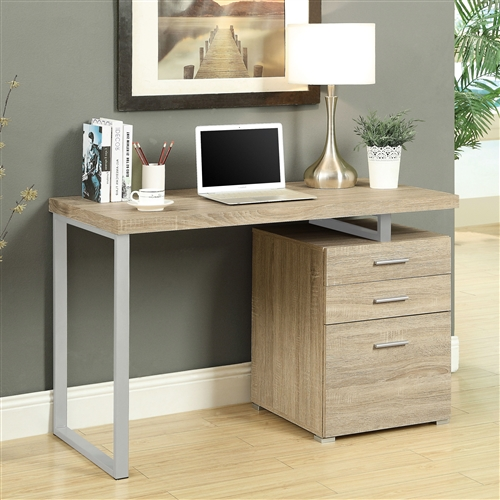 Small in scale yet big on functional and style, this Contemporary Home Office Laptop Computer Desk in Natural Finish is a smart addition to your space. This desk comes in your choice of available finishes to match your style. Its work space may be configured on the left or right side to maximize functionality. It includes three generous drawers to keep you tidy. May be configured on left or right side; 3 drawers plus large work surface; Assembly Required; Desktop Material Laminate; Material Metal, Laminate; Shape Rectangular; Special Features Expandable; Desks Style Modern.
