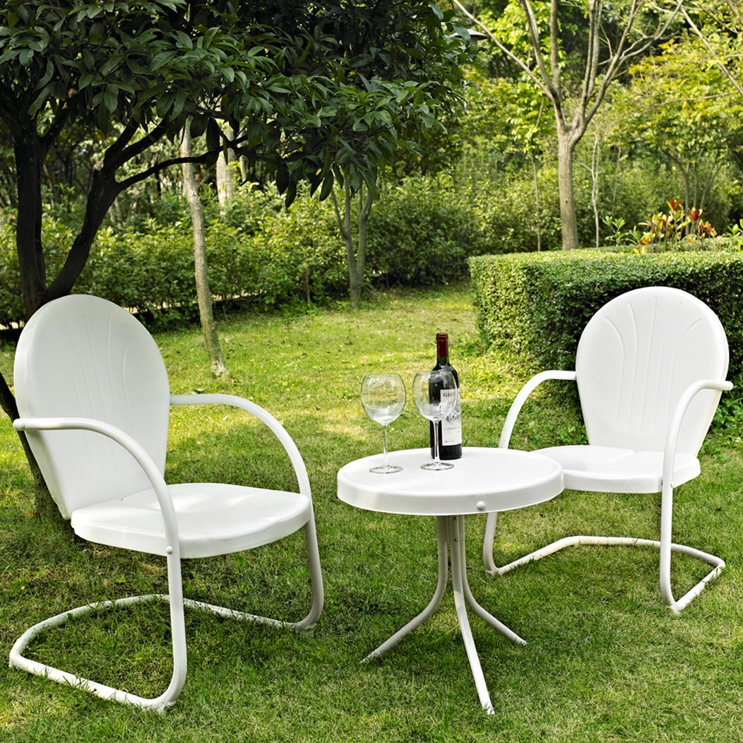 White 3-Piece Outdoor Patio Furniture Seating Group w/ Table & 2 Chairs, WPFS138991 :  Relax outside for hours on our nostalgically inspired White 3-Piece Outdoor Patio Furniture Seating Group w/ Table & 2 Chairs. Kick back while you reminisce in this seating set, designed to withstand the hottest of summer days and other harsh conditions. Use a soft clean cloth that will not scratch the surface when dusting. Use of furniture polish is not necessary. Should you choose to use a furniture polish, test in an inconspicuous area first. Use of solvents of any kind could damage your furniture's finish. To clean, simply use a soft cloth moistened with lukewarm water, then buff with a dry soft clean cloth. UV resistant; Set includes 1 side table and 2 chairs; Sturdy steel construction; Non toxic powder coated finish; Weather Resistant Details: Weather resistant Water; Resistant Details: Water resistant and waterproof; Assembly Required: Yes; Product Warranty: 3 Month limited; Woven: Yes; Sling Included: No; Weight Capacity: 250lbs. Style: Contemporary; Pieces Included: 1 Side table, 2 Chairs; Country of Manufacture: China.
