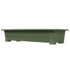 Sage Green Rectangular Garden Deck Patio Planter - Holds up to 150 lbs, AMGH6518181 :  This Sage Green Rectangular Garden Deck Patio Planter - Holds up to 150 lbs provides an extra-large, sturdy deck box - perfect to add color to the deck or patio. Stronger than typical planters, the thick walls will not bend when planted. The planter includes a plug for easy drainage. Made in USA; UV inhibitor allows colors to stay bright and attractive in the sun; Planter holds 1.25 cubic feet of potting soil; Drainage Holes: Yes; Recommended Plant Type: Flowers; Herbs; Mounting Brackets Included: No; Outdoor: Yes; Product Type: Rail planter; Shape: Rectangle; Fade Resistant: Yes; Liner: No; Number of Feet: 4; Mounting Brackets Included: No; Handles: No; Illuminated: No; Assembly Required: No; Product Warranty: One year warranty on manufacturers' defects.