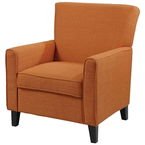This Orange Fabric Contemporary Living Room Arm Chair with Wood Legs features a slightly flared design that creates an inviting feel along with tapered wooden block feet to support it. Featuring a cappuccino leg finish, this chair will elevate the overall look of your living room. This classy chair will bring serenity to your living place. This chair is both very durable and long lasting. This cappuccino upholstered arm chair is perfect for people who prefer minimal design and subtle elegance. This classy arm chair can bring a touch of warmth with traditional style to your home decor. A rich dark-toned finish and an exquisite craftsmanship accentuate the home interiors and give this chair a dash of sheer elegance. Further adding to its appeal is the fabric and stitched design of the chair that makes a bold statement. Enhance your decor with the charm of this Orange Fabric Contemporary Living Room Arm Chair with Wood Legs that offers functionality along with classic beauty and style. Bring this stylish orange arm chair and modify the look of your living room. The polished look of this marvelous chair will lend a captivating touch to your home decor. Owing to the clean defined edges and square legs, the chair has a smart look.