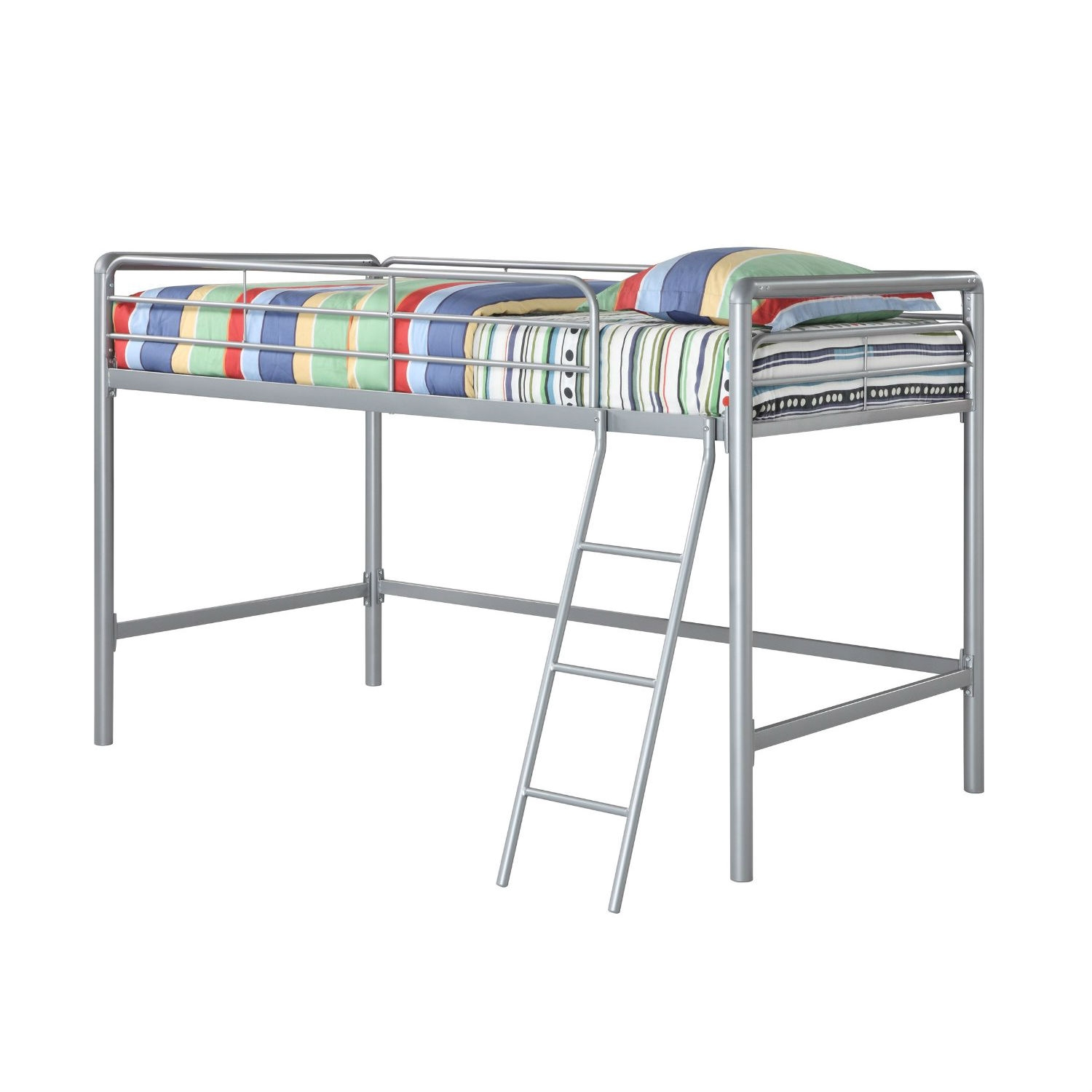 Twin size Bunk Bed Style Metal Loft Bed in Silver, DJLB149 :  This Twin size Bunk Bed Style Metal Loft Bed in Silver is perfect for any junior in your house. Not too high that the bed is unsafe if a child falls and not too low that they can't play underneath it, the Junior Metal Loft Bed is the ideal height. Fitting for smaller rooms, the space-saving design of this loft bed is durable and solid through years of use. The Junior Metal Loft Bed in silver is junior in size but not in efficiency.
