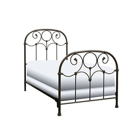 This Twin size Metal Bed Frame with Headboard and Footboard in Rusty Gold Finish would be a great addition to your home. The prominent scrollwork on this head and footboard is secured in place with decorative banding. And the 12 solid castings give the bed a playful character not found in most iron beds. The heavy tubing creating the overall shape of the bed display softly rounded shoulders that give historic appeal. Another elevating feature to the bed is the finish. It carries an intricacy that may not be noticed at first glance. When viewed up close the finish glows with an inner warmth that warrants the name Rusty Gold, and makes it a perfect match for a warm toned bedding ensemble.