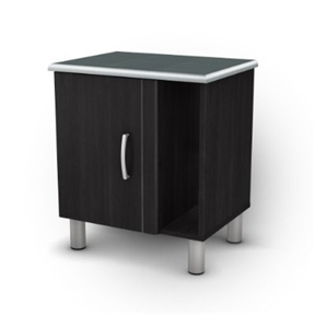 This Black Onyx Nightstand with 1 Door & 1 Adjustable Shelf unites black onyx and charcoal finishes with modern style. It includes a storage space with an adjustable shelf hidden behind a door, and an easy-to-access vertical space that is ideal for keeping your books and magazines within reach. Your eyes will also be drawn by the elegant vertical groove to the open storage compartment.