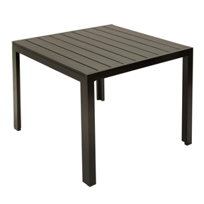 Patio Dining Table in Dark Brown/Black Weather Resistant Outdoor Plastic, ORPD19815 :  This Patio Dining Table in Dark Brown/Black Weather Resistant Outdoor Plastic is specially made for outdoor use. Enjoy the appearance of a beautiful wood design without the worry of damage from outdoor use. The table top slats keep water from pooling, but are narrow enough to place any cup or glass on without tipping. The entire table has also been powder coated to resist rust so you can enjoy it for years to come. Pair also with four of our textilene dining chairs (not included) for a complete outdoor dining set.  Durable table for the outdoors! Resin slatted, for patio or porch dining space, 35.4 by 35.4-Inch; Upscale Appearance - Durable, all weather resin slats that give the look of wood with the durability of resin; Textured for the appearance of a beautiful wood design; No need to shop, high quality outdoor furniture, delivered.