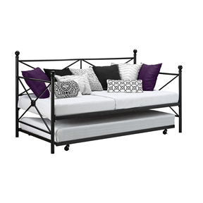 Twin size Contemporary Daybed and Trundle Set in Black Metal Finish, ZDSD19018 :  Play the perfect hostess with this Twin size Contemporary Daybed and Trundle Set in Black Metal Finish. Line plush throw pillows along the crisscross metal frame to create a cozy and colorful sofa for daytime. A trundle bed rests beneath, ready to be pulled out for spontaneous weekend guests. The design is here to transform your first place into a home. It features modern-inspired pieces that will turn your living room into a contemporary and guest-friendly space. A daybed is an easy fix for any apartment that's short on square-footage but big on visitors, while eye-catching accents round out the room.