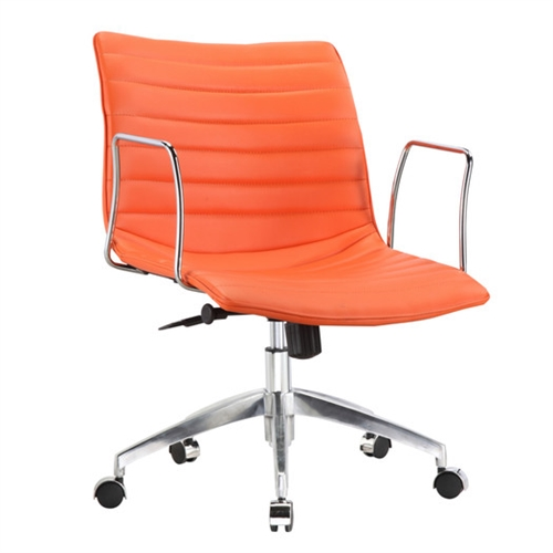 This Orange Modern Mid-Back Office Chair Mid-Century Style with Metal Arms is a durable chair made for the modern office. These caster bases provide easy mobility. Its slim arm rests give you comfort for your arms while keeping the chair compact. Chair is height adjustable making it fit just right for you.