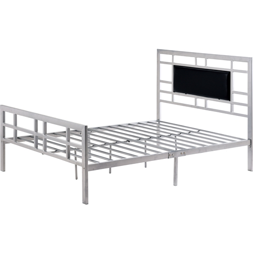 Beautify the look of your bedroom with this Full size Silver Metal Platform Bed Frame with Upholstered Headboard. Slatted lines, leather detailed headboard form the bed's classic design. This bed features the right kind of height that is ideal for hopping in and out of it with absolute convenience. No box spring is required for this bed, since there is a provision to support a standard mattress. This bed is constructed from the sturdiest form of metal which can last for many decades.