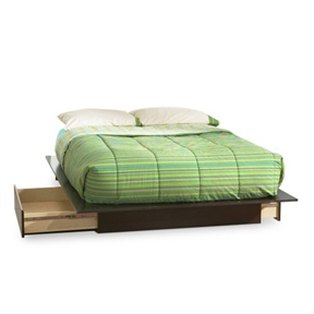 This Queen size Modern Platform Bed with 2 Storage Drawers in Chocolate has a timeless look and blends easily in any decor. It provides storage with two large drawers, one on each side, without handles and equipped with full extension metal slides. This bed fits full or queen size mattress and no box spring is required. When used with a full matress, a fringe of the Black finished top surface will be visible on each side and at the foot of the mattress. Its weight capacity is 500 pounds. Also available in Pure Black, Natural Maple or Pure White finish. The interior drawer dimensions are 29-3/4-inch wide by 19-1/4-inch front to back. It measures 60-inch wide by 80-1/2-inch long by 10-1/2-inch high. It is delivered in a box measuring 65-1/4-inch by 20-3/4-inch by 6-1/2-inch and weighing 150 pounds. New and improved drawer bottoms made with wood fiber. Mattress and accessories not included. Manufactured from certified Environmentally Preferred laminated particle panels. Complete assembly required by 2 adults. Tools are not included. 5-year limited warranty. Made in Canada.