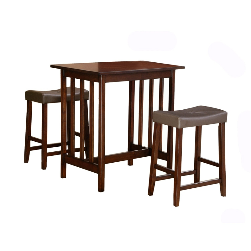A fun addition to your smaller dining space, this 3-Piece Counter Table and Stools Dining Set in Cherry Finish features a sturdy table excellent for work or dining and two plush upholstered saddle back stools. It is must be purchased as a three piece set that includes 1 table and 2 stools. Stools (set of 2) 24-inch by 19-inch by 13-inch Table 34-inch by 32-inch by 24W.
