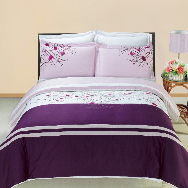 Cherry Embroidered Multi-Piece Duvet Set. You are invited to experience the comfort, luxury and softness of our luxurious Embroidered duvet covers. Silky Soft made from 100% Egyptian cotton with 300 Thread count woven with superior single ply yarn. Quality linens like this one are available only at selected Five Stars Hotels. The colors of this set are a combination of White, Lavender and Pink.