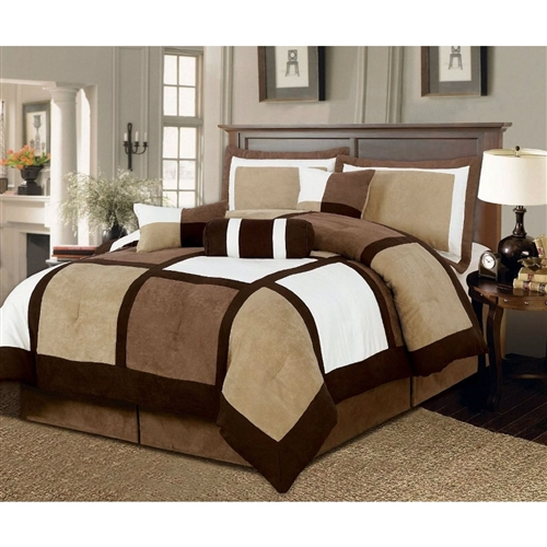 """This Full size 7-Piece Bed in a Bag Patchwork Comforter set in Brown White would be a great addition to your home. It is made of microsuede material and comes in a brown white color. 100% polyester. 7 pc Bedding Ensemble. (Comforter, 2 Shams, 1 Square Cushion, 1 breakfast Cushion, 1 Neck roll, and Bed Skirt); 1 Full Comforter: 88"""" x 86"""", 1 Bed Skirt: 78"""" x 80""""+14"""" drop; 2 Shams: 20""""x36""""+2"""", 1 Square cushion 18""""x18"""", 1 breakfast cushion 12"""" x 18"""", and 1 Neck roll (7""""X18"""")"""