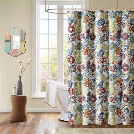 Contemporary Colorful Floral Paisley Shower Curtain, TPSC5198411 : Spice up your bathroom with this Contemporary Colorful Floral Paisley Shower Curtain. Tamil offers a fresh look to the contemporary paisley pattern with an eclectic mix of colorful florals and medallions. This 72x72 shower curtain is made from a polyester microfiber fabrication for easy care.