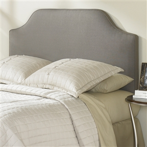 This King-size Upholstered Headboard in Dolphin Grey Taupe Polyester brings depth and class to any neutrally balanced style decor. This sleek, minimalist headboard will remain a striking focal point through years of color, decor, and design changes in your room. Upholstery fill: 2 inches of high-density foam wrapped in dacron; Upholstered on front side only; Backside is covered in black muslin; Design is simple and uncluttered; Fabric is stain protected and simply cleaned with water; Care instructions: Hand wash with water; Upholstery on front only, back side is a black muslin cloth.