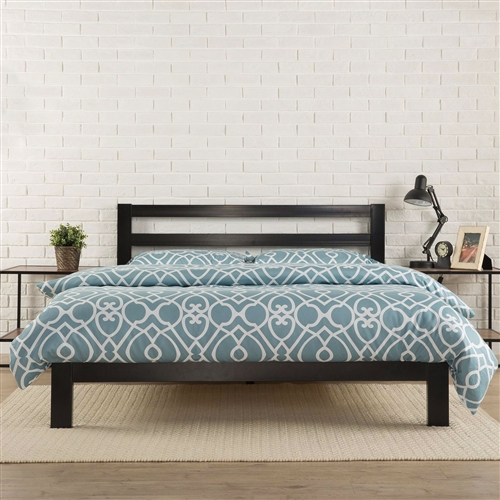 This King size Heavy Duty Metal Platform Bed Frame with Headboard and Wood Slats features wooden slats that provide strong support for your memory foam, latex, or spring mattress. Low profile 10 inch frame height with 7 inches of clearance under the frame for plenty of under bed storage space. The King size Heavy Duty Metal Platform Bed Frame with Headboard and Wood Slats with headboard provides stylish and strong support for your mattress.