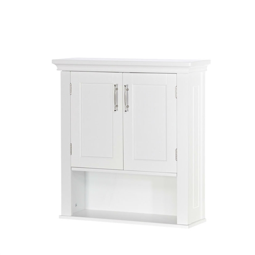 White Wood Bathroom Wall Mounted Storage Cabinet with Bottom Shelf,  WBMC5169845 :  This White Wood Bathroom Wall Mounted Storage Cabinet with Bottom Shelf adds a touch of class to your home decor. The elegant shelf is the perfect blend of style and functionality. This shelf will be a great choice for contemporary styled home decors. The MDF wood construction of this White Wood Bathroom Wall Mounted Storage Cabinet with Bottom Shelf ensures excellent durability, stability, and style. The accent shelf is available in a white finish, which lends a glossy and classic look to it. The cabinet features an open shelf and one closed compartment for multiple storage options. The unit is ideal for bathroom storage and provides space for all different items that keep cluttering the place. The closed storage is perfect to store or stack up the everyday essential bathroom materials. The classy and elegant looks of the cabinet makes it a great choice for most rooms of the house. The perfect size, shape and weight of the unit make it convenient to wall mount and store items. This accent shelf requires assembly, which can be performed easily. Coved design top and 2 tone satin/mirror finish handles; Hardware Material: Stainless steel.   Shelf Weight Capacity: 25 Pounds; Weight Capacity: 75 Pounds; Country of Manufacture: China; Assembly Required: Yes; Tools Needed for Assembly: Phillips head screwdriver; Installation Required: No; Additional Parts Required: No; CPSIA or CPSC Compliant: Yes; General Conformity Certificate: Yes ISTA 3A Certified: Yes.