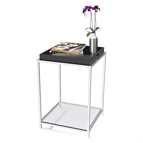 This Modern End Table with Removable Tray in Black combines urban design and multi-function use. The Modern End Table with Removable Tray in Black features a removable black tray that can be reversed to use as a flat surface, or as a serving tray. Clear tempered glass table top allows use of end table with, or without tray. Tray is not intended for direct contact with food; Will provide years of enjoyment.