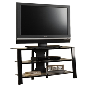 "Add a touch of elegance and sophistication to your living room space with this Contemporary 40-inch Black Metal TV Stand with Clear Glass Shelves. This multipurpose console furniture sports unique structure and beautiful blend of modern and traditional design that compliments any home decor and provides multiple utility options. The TV stand comes in a graceful black clear glass finish to charm your personalized home decor with grace and sophistication. This multipurpose stand is not just pleasing to look at but also provides ample storage space to organize your home entertainment set at one place. The TV stand is constructed with steel making it robust and sturdy for accommodating standard 40"" television sets weighing 70 lbs. The stand features open shelving to provide ample space for storing your media device and gaming consoles near to your television set for easy synchronization and access. Specifically designed for corner or wall placement, this multipurpose TV stand features TV mounting, versatile storage, and expansive work space for maximum utility. The black edged glasses complement the overall metal frame and provide it an ultra-modern style fit for any home decor. The eco-friendly and non-toxic TV stand comes with cord management that enables you to access the wires and conceal them for a clutter-free and neat appearance. The TV stand requires assembly and can be maintained conveniently without any hassles."