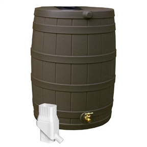 50 Gallon Rain Barrel in UV Resistant Resin with Diverter Kit,  GI50GRB119 :  When drought sets in and rain is short, rain barrels can provide that precious water you need for your lawn and garden. This 50 Gallon Rain Barrel in UV Resistant Resin with Diverter Kit can provide up to 50 gallons of pure, unchlorinated water when municipalities declare periods of low water usage. During heavy rain falls, a typical roof can produce hundreds of gallons of water. By saving that water, you can reduce your average water usage by up to 40-Percent. With those kinds of savings, the Rain Vault can pay for itself in just a few seasons.The Rain Vault features an attractive faux oak barrel design so it naturally fits in with your landscape. And the wide variety of colors allows you to even further match your barrel to your home and yard without standing out. Its plastic screen mesh is newly designed to keep out bugs, animals, and debris while still being easy to remove for cleaning and maintenance and is gentle on skin. A front side overflow keeps water from flooding against your outside wall. The flat-back design is one of the most convenient features as it allows your barrel to sit right up against your home so you don't have to worry about purchasing excess downspout parts.These barrels are tough. While most barrels will crack or become brittle in the winter time, the Rain Vault will stay strong. It is still recommended that you drain your barrels when temperatures approach the freezing point. And if you're looking for the best deal for the planet, be sure to get a Rain Vault. These barrels are made of 100-Percent recycled resin. High quality brass spigot for hose hook-up and overflow spout; Screen to keep out debris, insects, animals and children.