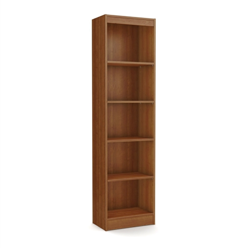This Cherry Wood Finish 71-inch Tall Skinny 5-Shelf Space Saving Bookcase is ideal for your binders, books or decorative items. It features 5 open, practical and accessible storage spaces, separated by 2 fixed and 3 adjustable shelves that can support up to 30 pounds each. Its refined lines harmonize seamlessly with virtually any décor. Both functional and attractive with its sleek contemporary styling, this bookcase is sure to enhance the look of any room in your home. It is also available in Pure White, Chocolate, Pure Black or Royal Cherry finish.