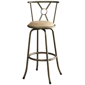 """This Set of 2- Adjustable Height Padded Seat Barstools features a selection of two contemporary styled chairs with round upholstered seat cushions in a light color framed in a dark metal finish with a unique back support of """"X"""" and circular shapes."""