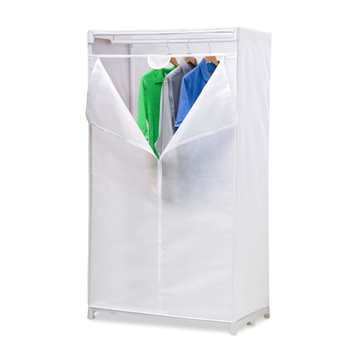 This 36-inch White Portable Closet Clothes Organizer Wardrobe is easy, sturdy assembly. breathable fabric. great for shirts, blouses and dresses. put this portable closet anywhere you need the room. Includes Limited Lifetime Warranty. 36-Inch hanging space to store shirts, jackets, suits and dresses; Item dimensions: 36X20X63-Inch