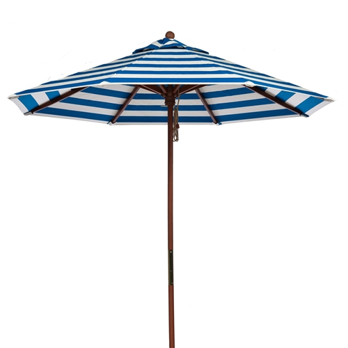 Turquoise White Stripe 9-Ft Outdoor Market Patio Umbrella with Wood Pole, TWSP1681526 :  This Turquoise White Stripe 9-Ft Outdoor Market Patio Umbrella with Wood Pole would be a great addition to your home. It has brass parts and pulley system. Base Included: No; 9 oz. Marine grade fabric (Acrylic); Brass parts; Solid Indonesian hardwood pole; Indonesian hardwood ribs; Does not tilt; Canopy Material: Acylic Fabric; Opening Method: Pulley System; Solar Powered: No; Weather Resistant Details: Fabric is weather resistant; Water Resistant: Yes; Water Resistant Details: Fabric is water resistant; Number of Canopy Ribs: 8; Recommended Base Size: 50 - 70; Number of Poles: 2; Number of Pieces in Pole: 2; Lock Mechanism: Snap button; Assembly: Parts Needed: None; Commercial Use: Yes; Product Warranty: 3 Year limited warranty for frame, 5 year limited warranty for fabric.