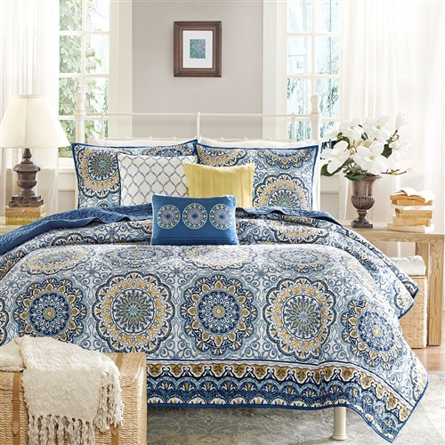 Bring home this King size 6-Piece Quilt Coverlet Set in Blue Floral Pattern and enhance the look of your room. This beautiful coverlet set has flowery pattern that adds to the room's overall looks. It is functional and is best for all decors. Beautifully made from polyester microfiber, this coverlet set is extremely soft and durable. This quilted coverlet adds a cooling touch to the rest of the decor. This coverlet set has a brushed polyester reverse side, which is smooth to the touch. The set has a floral pattern that looks beautiful and is attractive. This coverlet set includes one coverlet, two shams, and three pillows. It is warm and great for all weathers. You can add this coverlet set to any bedroom in your home. The set is made with a quilted technique and is smooth and comfortable. This King size 6-Piece Quilt Coverlet Set in Blue Floral Pattern can be machine washed on a gentle cycle with cold water. It can then be tumble dried on a low setting. This coverlet set is a great addition for any home.