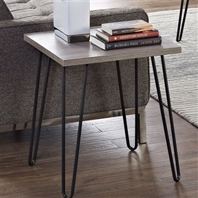 This Modern Classic Vintage Style End Table with Wood Top and Metal Legs would be a great addition to your home. It has metal legs and is perfect as an end table or accent piece. Base Material: Metal; Base Material Details: Steel; Top Material: Manufactured wood; Top Material Details: Laminate; Number of Legs: 4