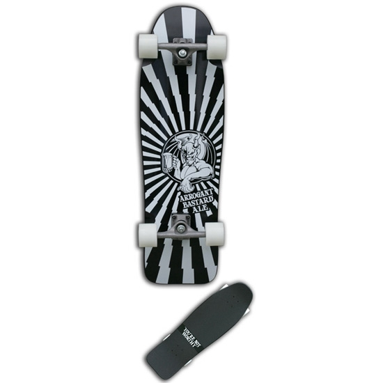 33-inch Arrogant Bastard Stone Brewing Complete Skateboard, GRAVITY_33ABSB : Just like the 80's, 33-inch Arrogant Bastard Stone Brewing Complete Skateboard is unique. Based on a Gravity classic, this special edition is one of a kind, and is here to be loud and proud. Visit our friends over at StoneBrew.com. Wheels: Gravity 60mm - 66mm; Wood: 7ply Hardrock Maple. Price includes complete skateboard, trucks, bearings, risers, wheels, board, and grip tape